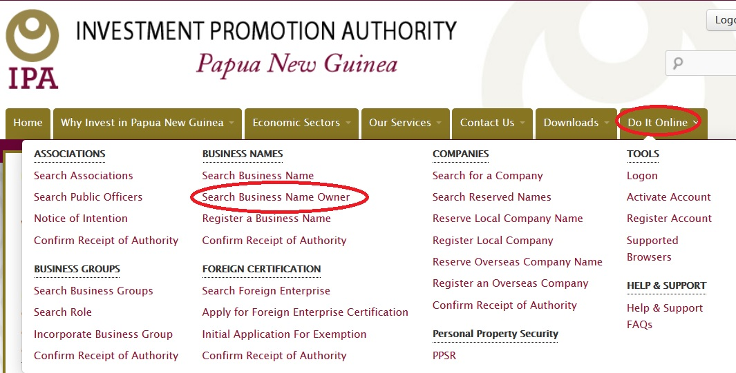 ipa gov pg Business Name Owner Search Papua New Guinea
