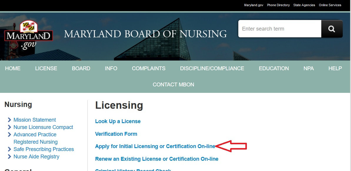 Mbon Online License Certification Renewal Maryland Board Of