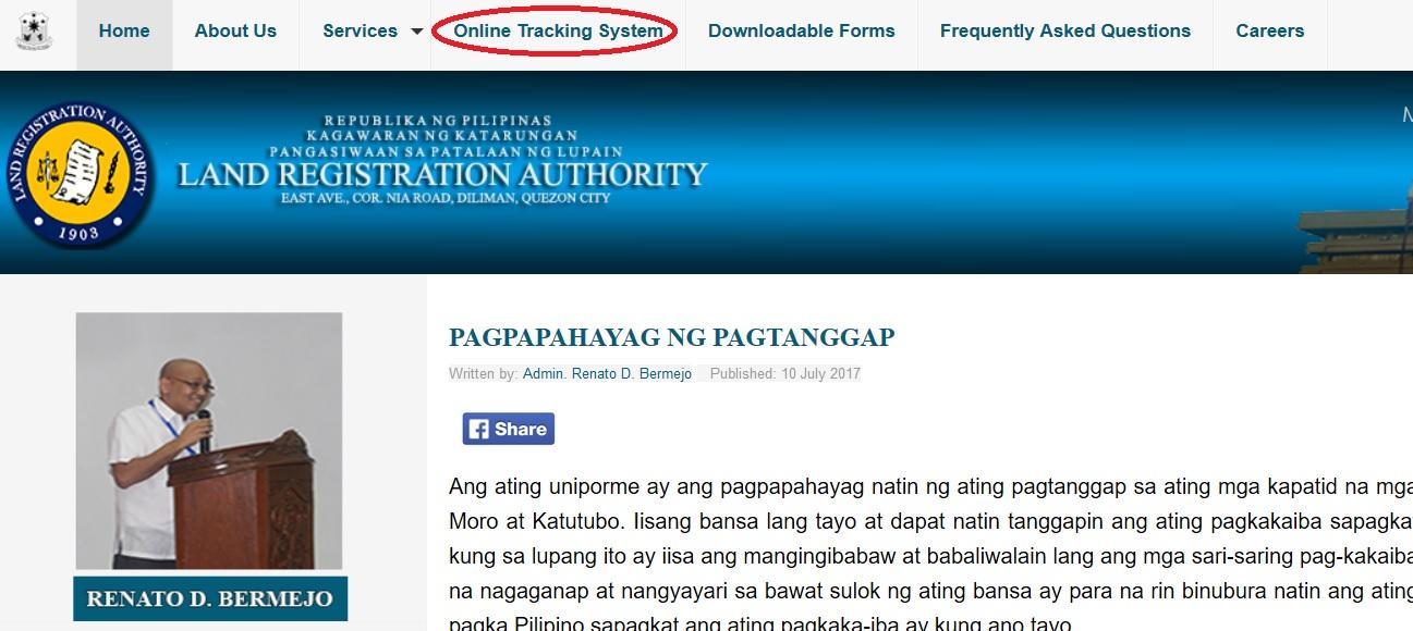 lra gov ph Online Tracking System Philippines : Land