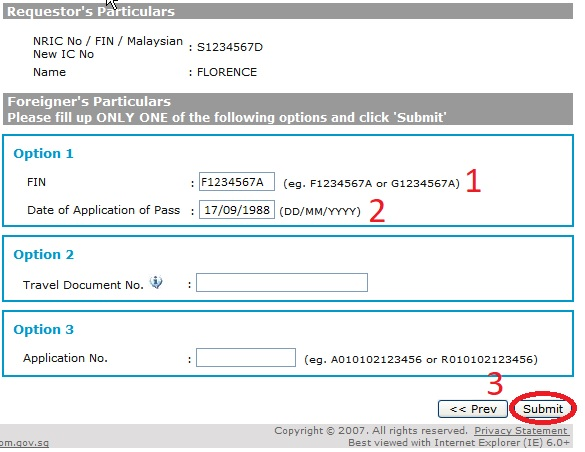 how to check application status for work pass sg