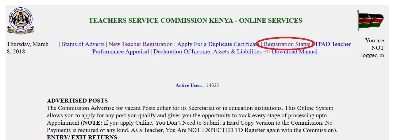 TSC Teacher Registration Online & Status Check Kenya