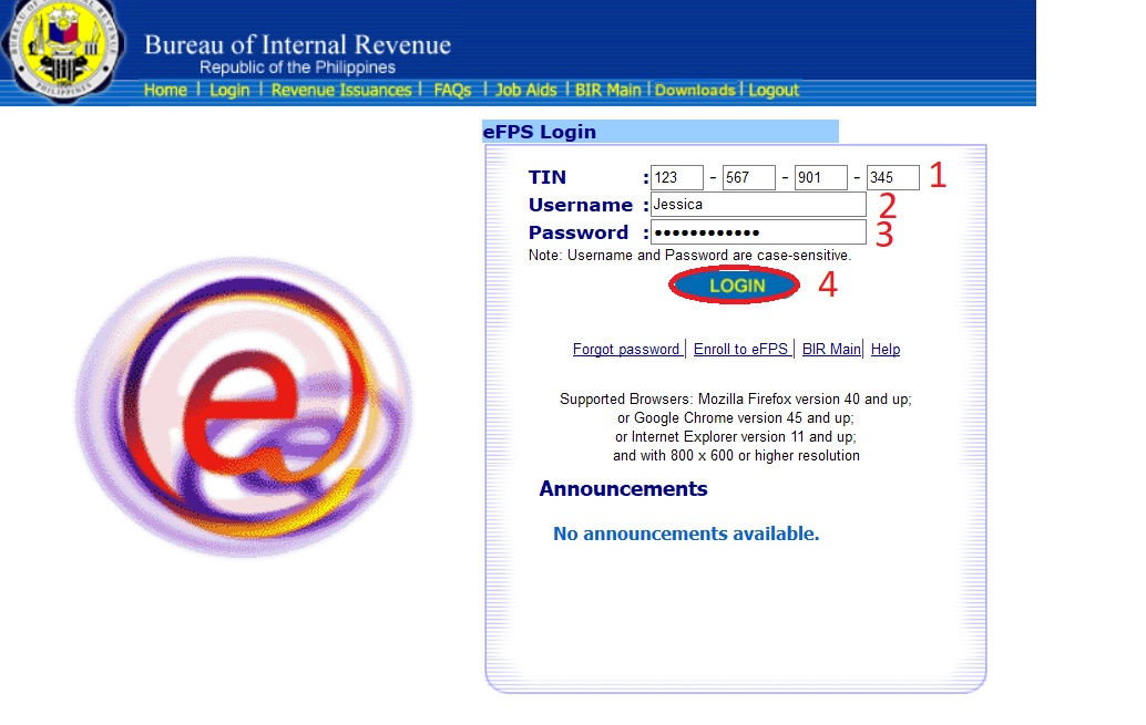 Efpsr efiling payment system philippines bureau of supported browsers mozilla firefox version 40 and up or google chrome version 45 and up or internet explorer version 11 and up spiritdancerdesigns Image collections